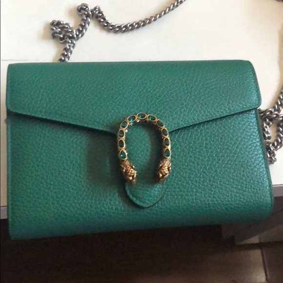 Gucci Handbags - Gucci Dionysus wallet on chain in green